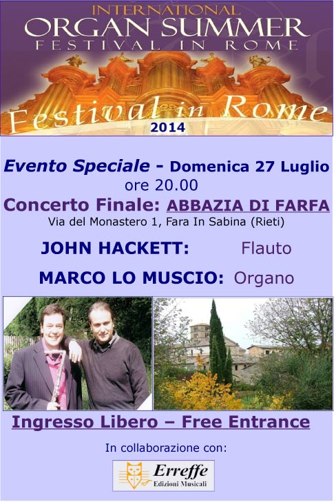 International Organ Summer Festival in Rome: concerto finale Abbazia di Farfa 27 luglio 2014